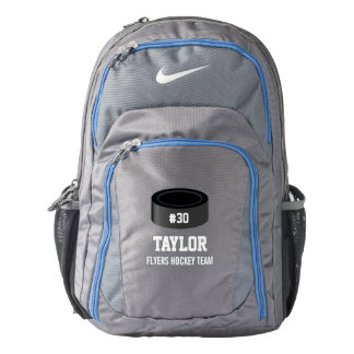 Sporty Hockey Puck Personalized Name, Number, Team Backpack