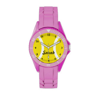 Sporty ladies watch with tennis ball print