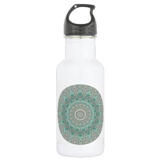 Sporty Light Teal and Grey Mandala Stainless Steel Water Bottle