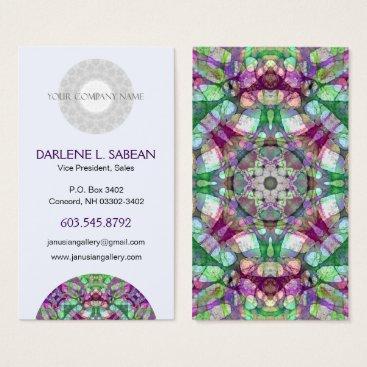 "Professional Business Sporty ""Lilac Dreams"" Mandala Kaleidoscope Business Card"