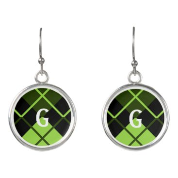 Beach Themed Sporty Lime Green Forest Black Argyle Monogram Earrings