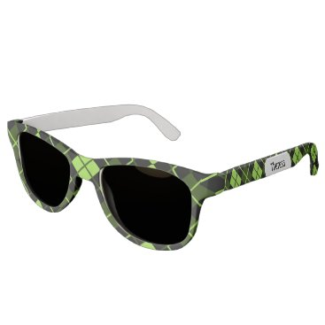 Beach Themed Sporty Lime Green Forest Black Argyle Monogrammed Sunglasses