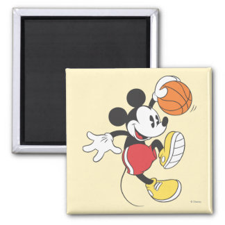Sporty Mickey   Basketball Player 2 Inch Square Magnet