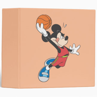 Sporty Mickey   Dunking Basketball 3 Ring Binder
