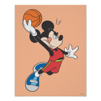 Sporty Mickey | Dunking Basketball Poster
