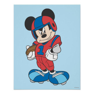 Sporty Mickey | Football Pose Poster