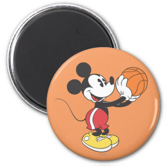 Sporty Mickey | Holding Basketball 2 Inch Round Magnet