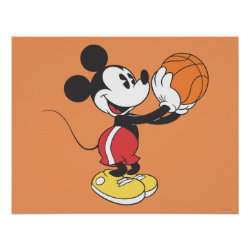 Sporty Mickey | Holding Basketball Poster