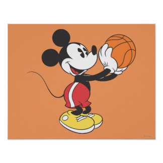 Sporty Mickey   Holding Basketball Poster