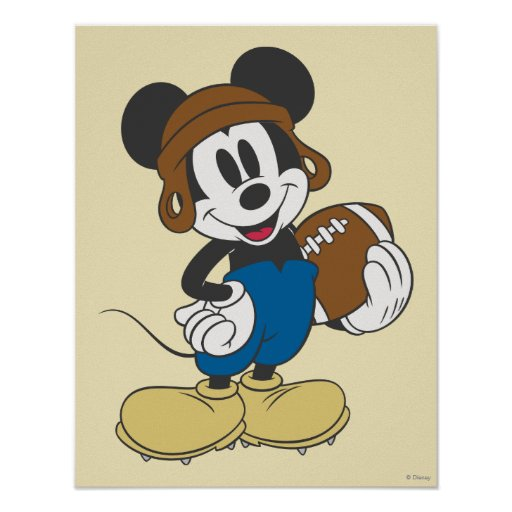 sporty mickey holding football poster