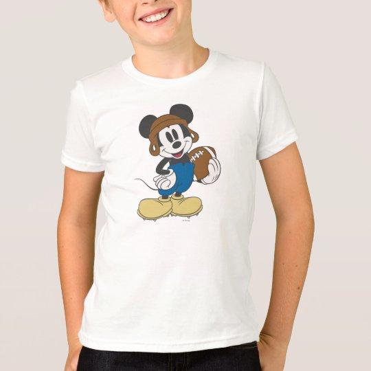 Sporty Mickey   Holding Football T-Shirt