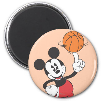 Sporty Mickey   Spinning Basketball 2 Inch Round Magnet