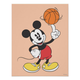 Sporty Mickey | Spinning Basketball Poster