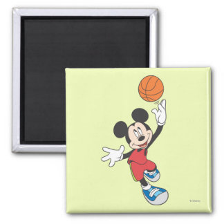 Sporty Mickey   Throwing Basketball 2 Inch Square Magnet
