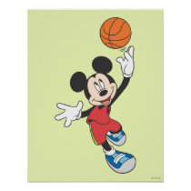 Sporty Mickey | Throwing Basketball Poster