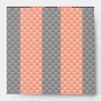 Sporty Orange Stripes on Carbon Fiber Like Print Envelope