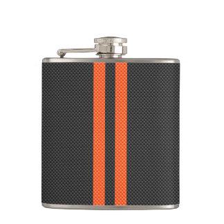 Sporty Orange Stripes on Carbon Fiber Like Print Hip Flask