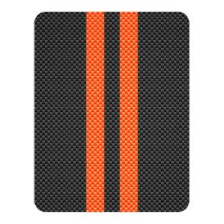 Sporty Orange Stripes on Carbon Fiber Style Print Card