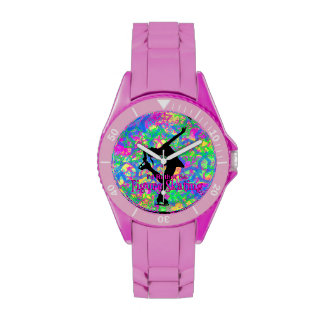"Sporty Pink ""rather be figure skating"" Watch"