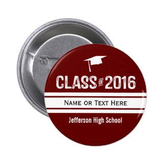 Sporty Prep Stripe Graduation Cap Class of 2016 Pinback Button