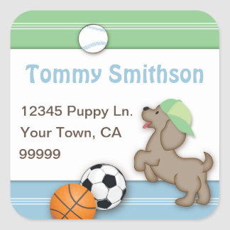 Sporty Puppy Custom Address Label Sticker