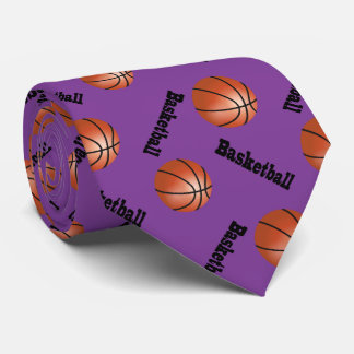 Sporty Purple Background | Basketball Neck Tie