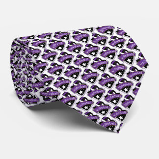 Sporty Purple, White and Black Volleyball Logo Neck Tie