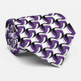 Sporty Purple, White and Black Volleyball Tie