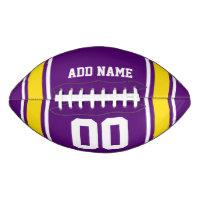 Sporty Purple|Yellow Striped Personalized Football