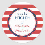 Sporty Red White Blue Nautical Stripes Monogram Classic Round Sticker at Zazzle