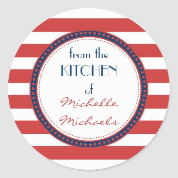 Beach Themed Sporty Red White Blue Nautical Stripes Monogram Classic Round Sticker