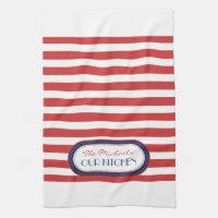 Sporty Red White Blue Nautical Stripes Monogram Hand Towel