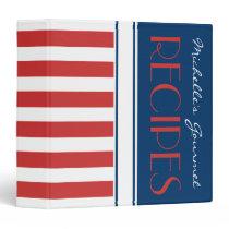 Sporty Red White Blue Nautical Stripes Name Recipe Binder