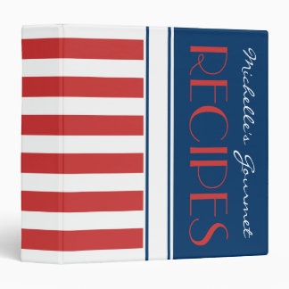 Sporty Red White Blue Nautical Stripes Name Recipe Binder