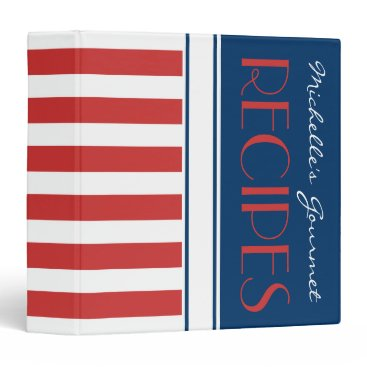 Beach Themed Sporty Red White Blue Nautical Stripes Name Recipe Binder