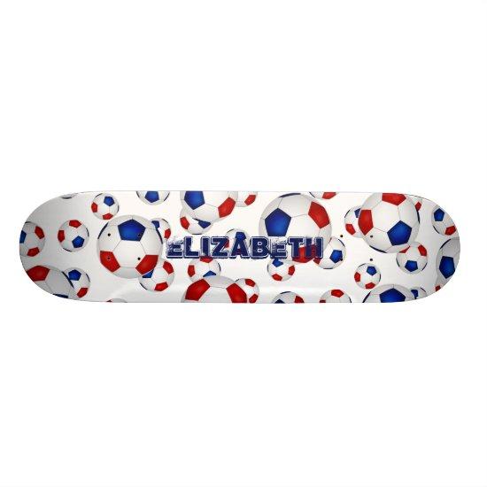 sporty red white blue soccer balls custom name skateboard