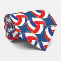 Sporty Red, White, Blue with Gold Trim Volleyball Neck Tie