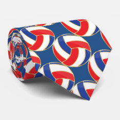 Sporty Red, White, Blue With Gold Trim Volleyball Neck Tie at Zazzle