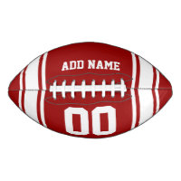 Sporty Red|White Striped Personalized Football