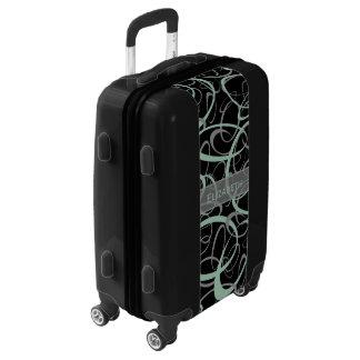 Sporty retro grayed jade and gray on black luggage