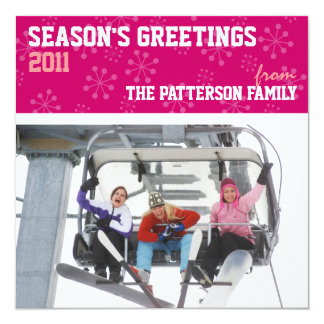 Sporty Seasons Greetings Holiday Photo Card Pink