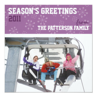 Sporty Seasons Greetings Holiday Photo Card Purple
