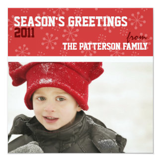Sporty Seasons Greetings Holiday Photo Card Red