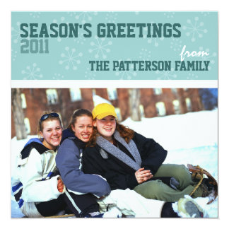 Sporty Seasons Greetings Holiday Photo Card Teal