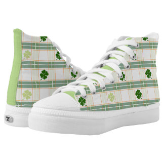 Sporty Shamrock Plaid High-Top Sneakers