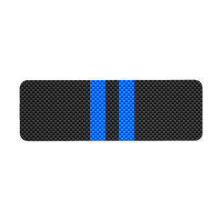 Sporty Sky Blue Carbon Fiber Style Racing Stripes Label