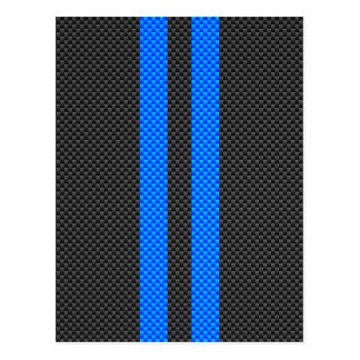 Sporty Sky Blue Carbon Fiber Style Racing Stripes Postcard