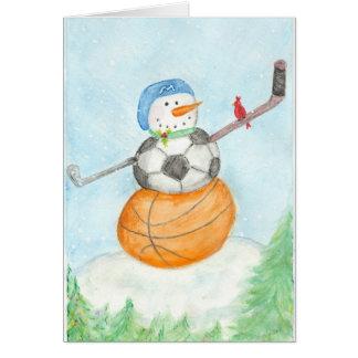 Sporty Snowman Greeting card