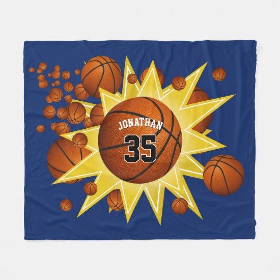 sporty star player basketball blowout boys girls fleece blanket