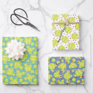 sporty tennis balls pattern any occasion wrapping paper sheets